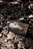Lata de lata na terra queimada Fotos de Stock