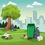 Lata de limpeza do parque e cen?rio dos sacos ilustração do vetor