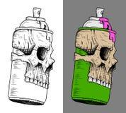 Lata de pulverizador com máscara do crânio Foto de Stock Royalty Free