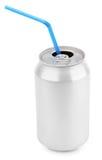 Lata de soda de alumínio com palhas Imagens de Stock Royalty Free
