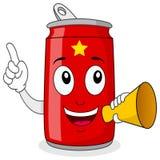 Lata de soda do tempo do partido & megafone vermelhos ilustração do vetor