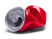 Lata de soda esmagada vermelho Imagem de Stock