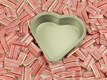 Lata del corazón, caramelo Foto de archivo libre de regalías