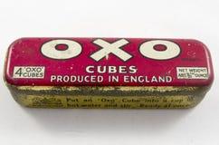 Lata del vintage para los cubos OXOS del bouillion Fotografía de archivo libre de regalías