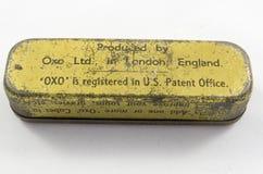 Lata del vintage para los cubos OXOS del bouillion Foto de archivo libre de regalías