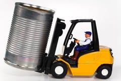Lata do Forklift e de estanho Imagem de Stock