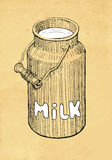 Lata do leite Imagem de Stock
