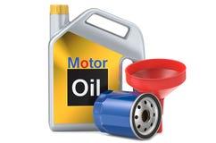 Lata do plástico dos filtro de óleo do carro e do óleo de motor, ilustração 3d Imagem de Stock Royalty Free