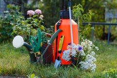 Lata do pulverizador do jardim do inseticida do adubo, molhar e algum garde Fotografia de Stock