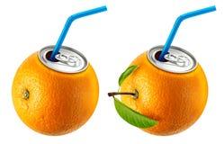 Lata do suco de laranja fotos de stock