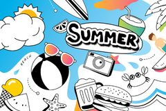 Lata doodle symbol i przedmiot ikony projekt dla plaży bawimy się bac Obraz Royalty Free