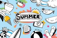 Lata doodle symbol i przedmiot ikony projekt dla plaży bawimy się bac Zdjęcie Stock