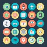 Lata i podróży Barwione Wektorowe ikony 1 Zdjęcia Royalty Free