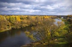 lata indyjski Krajobraz Rzeczny Berezina Borisov Białoruś Obraz Stock