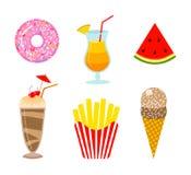 Lata jedzenie Pączka, pomarańczowego napoju, lemoniady, arbuza, lody, milkshake i francuza dłoniaki, Zabawa majcher dla zdjęcia stock