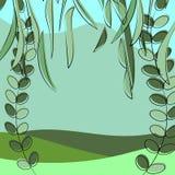Lata krajobraz, gazon i ulistnienie drzewa, Zieleni naturalni kolory ilustracja wektor