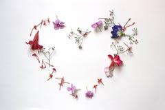 Lata kwiecisty serce z kwiatami Zdjęcie Royalty Free