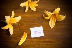 Lata kwitnienia kwiaty żółta leluja na drewnianym fotografia stock