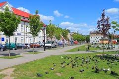 Lata miasta krajobraz na zwycięstwo kwadracie w mieście Gvardeysk Zdjęcia Stock