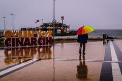 Lata miasteczko Na deszczowym dniu Obrazy Royalty Free