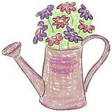 Lata molhando com flores Imagem de Stock