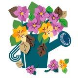 Lata molhando completamente de flores da mola ilustração do vetor