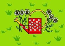 Lata molhando da flor Imagens de Stock