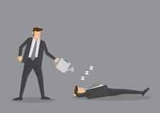 Lata molhando sobre o homem de negócios de sono Vetora Illustration Imagem de Stock Royalty Free