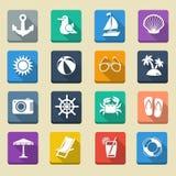 Lata morza wakacje ikony Obrazy Stock