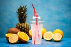 Lata odświeżenia napój robić od życiorys owoc fotografia stock