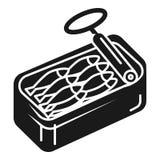 Lata Open do ícone das sardinhas, estilo simples ilustração royalty free