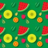 Lata owocowy bezszwowy deseniowy tło Zdjęcia Stock
