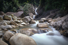 Lata Payung waterfall. At Pelong, a place suitable for picnic Stock Photos