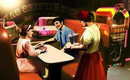 Lata pięćdziesiąte kawiarni scena ilustracja wektor