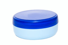 Lata plástica azul do creme Imagens de Stock