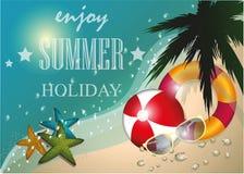 Lata plażowy wektorowy pojęcie, lato etykietka, tło, illustratio Obrazy Stock