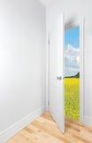 Lata pole widzieć otwarte drzwi Obrazy Stock