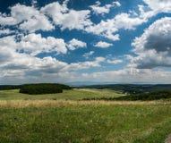 Lata pole z marzycielskimi chmurami i niebieskim niebem obraz royalty free