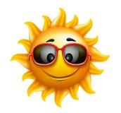 Lata słońca twarz z okularami przeciwsłonecznymi i Szczęśliwym uśmiechem Obrazy Royalty Free