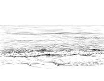 Lata seascape nakreślenie royalty ilustracja