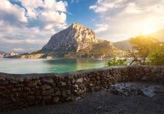 Lata seascape przy zmierzchem kolorowe krajobrazu Fotografia Stock
