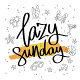Lata sunday Trendig kalligrafi Royaltyfri Fotografi