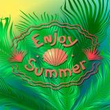 Lata tło z drzewkami palmowymi i inskrypcją Modnego koloru żywy koral ilustracji