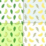Lata tło Set wektorowi prości kolorowi bezszwowi wzory - różne owoc Wapna i cytryny bezszwowy wzór royalty ilustracja