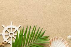 Lata tło z Zielonym Palmowym liściem, Dekoracyjny statku sterowanie Zdjęcie Stock