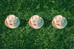 Lata t?a menchii sunhat na zielonej trawie Wystrzał sztuki projekt, lata partyjny pojęcie minimalista fotografia royalty free