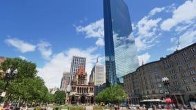 Lata Timelaspe widok Copley kwadrat w Boston zbiory