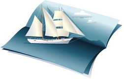 Lata tło z morzem i łodzią Zdjęcia Stock