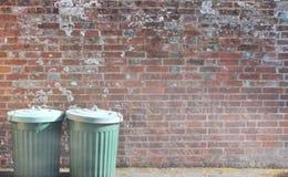 Lata trashcan do lixo dos caixotes de lixo do escaninho dos desperdícios do balde do lixo fora contra o fundo da parede de tijolo vídeos de arquivo