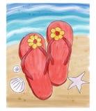 Lata trzepnięcia klapy w piasku na plaży Fotografia Stock